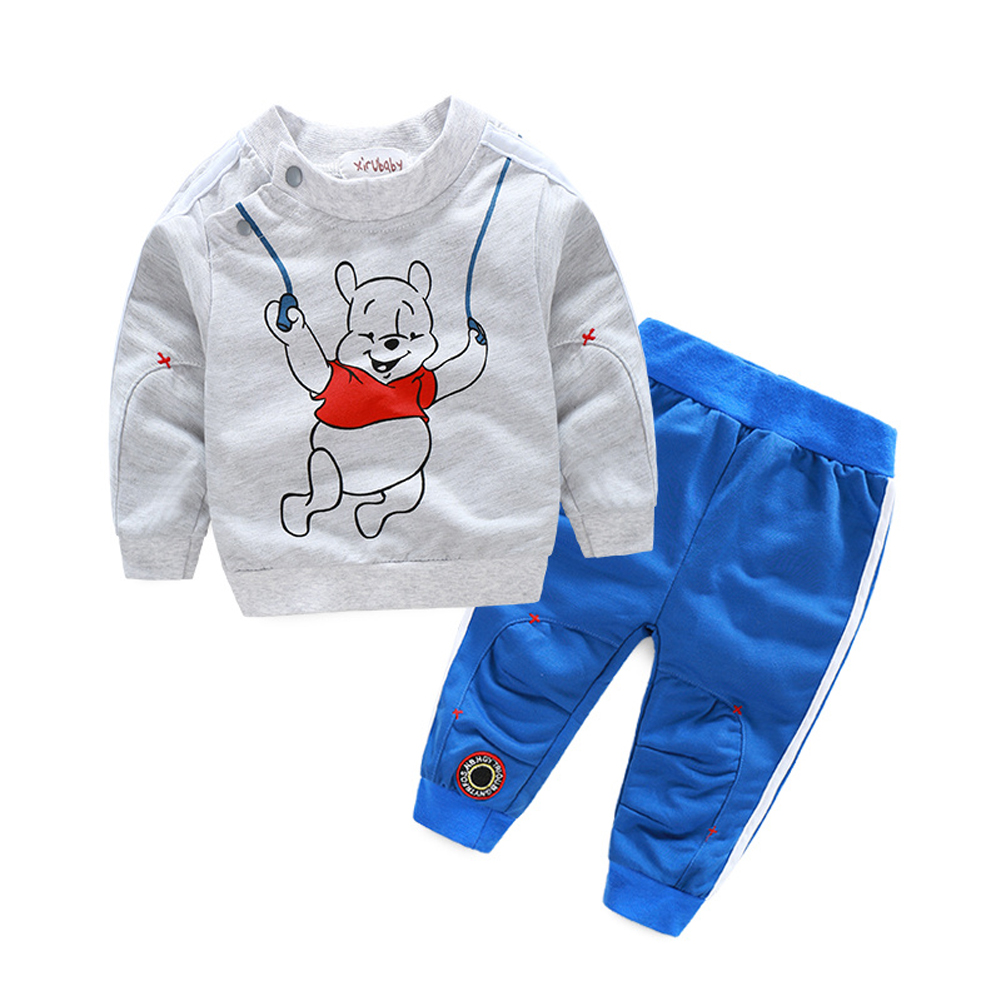 Kids Shirt+Pants Set Baby Boy Autumn Sport Suits Bear Printed Long Sleeve Tops Pants Clothes Outfit Set 1 to 4 Years 2pcs children outfit clothes kids baby girl off shoulder cotton ruffled sleeve tops striped t shirt blue denim jeans sunsuit set