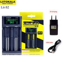 Mới Liitokala Lii S2 18650 1.2V 3.7V 3.2V AA/AAA 26650 21700 NiMH Pin Li ion sạc Thông Minh + 5V 2A Cắm