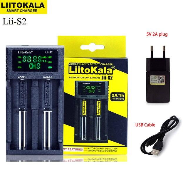 新しいliitokala Lii S2 18650バッテリー充電器1.2v 3.7v 3.2v aa/aaa 26650 21700ニッケル水素、リチウムイオン電池スマート充電器 + 5v 2Aプラグ