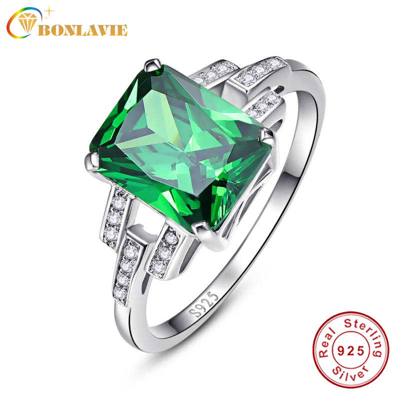 0ba89c4c744a Bonlavie lujo 10.75ct verde nano ruso Esmeralda cóctel anillo 925 plata  esterlina Anillos para las