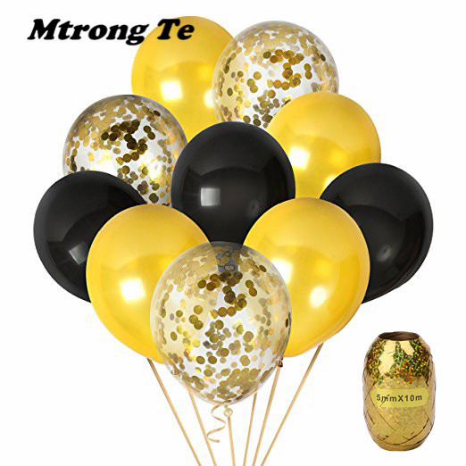 11pcs 12inch black gold clear Transparent Latex Balloons gold confetti Wedding Birthday Party Decor Helium Supplies baby shower