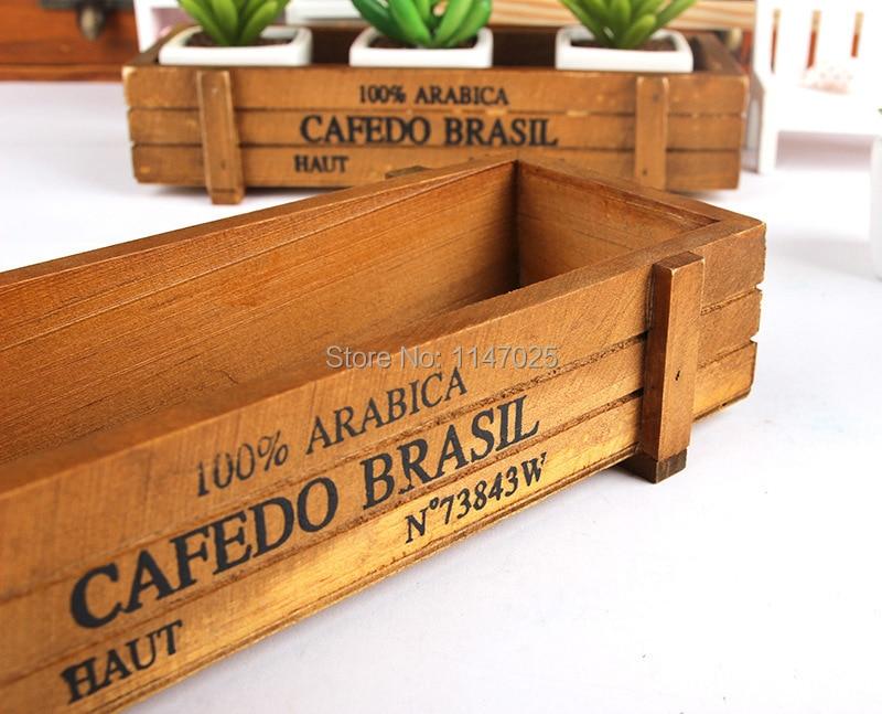 1PC Longming hOme Zakka wooden flowerpot retro wooden gardening fleshy succulent flower wood storage box creative JL 0931 6