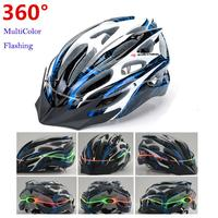 Multicolor Flashing Adjustable Ultralight Bicycle Helmet With LED Light Integrally-molded Sport Bike MTB Cycling Helmet C0008