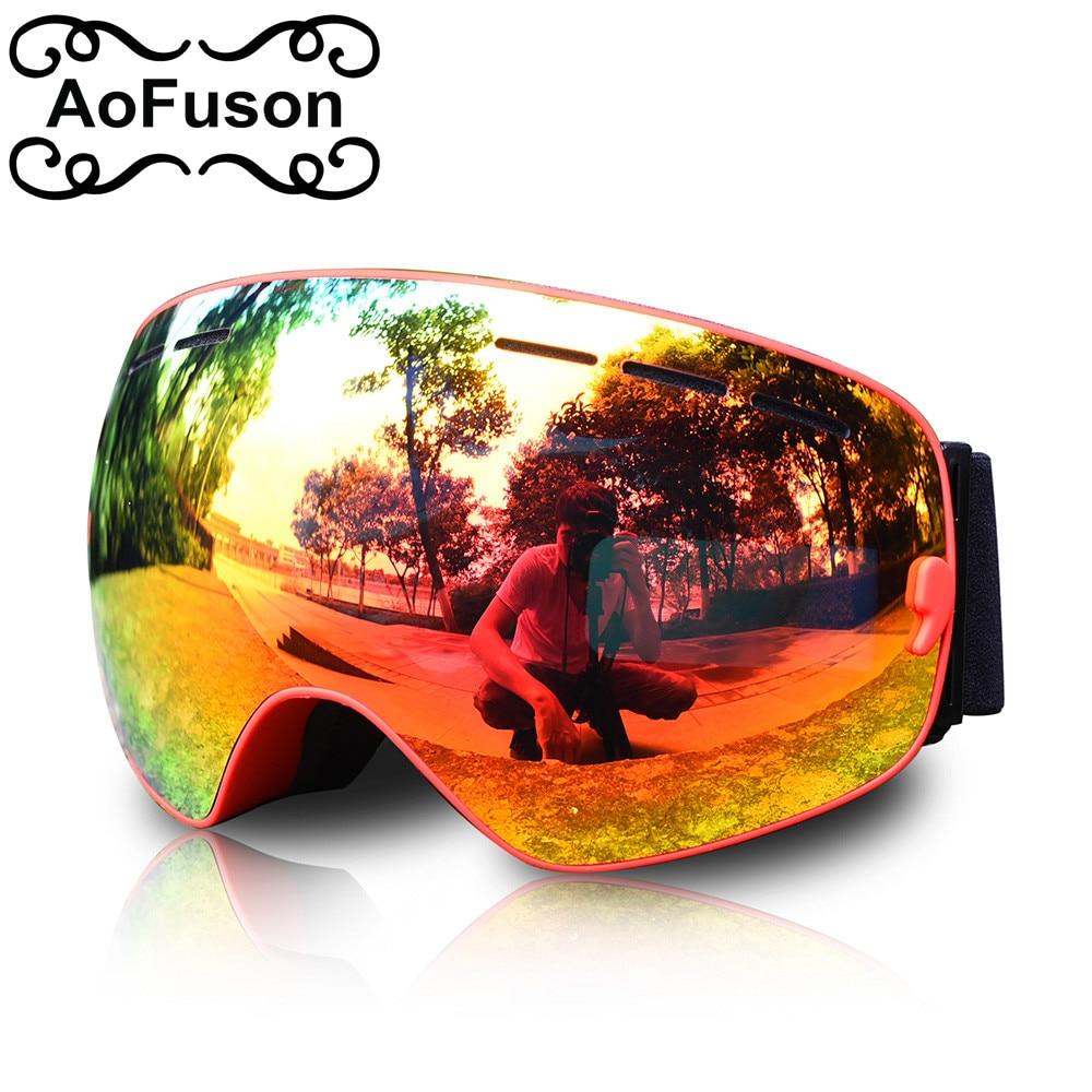 AoFuson brand snowboard ski goggles double anti fog photochromic big spherical lens motocross esqui outdoor sports