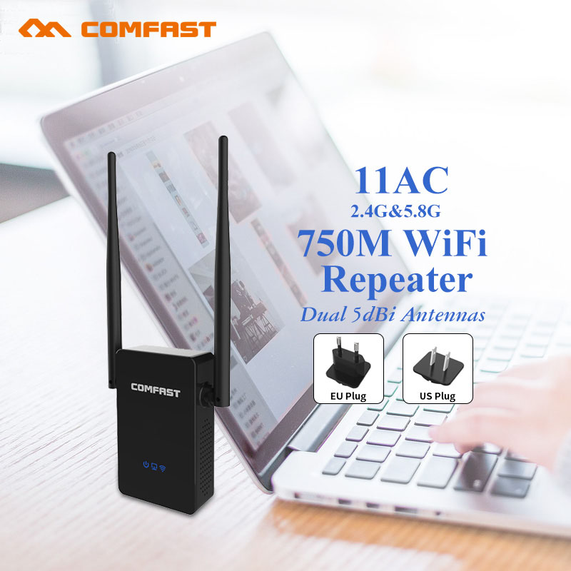 COMFAST 750Mbps WIFI Repeater WIFI amplifier Dual Band 2.4G/5 ghz Wireless Wi fi router Roteador wi-fi Extender EU US Plug
