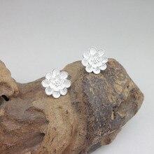 Small Flower Earing 999 Sterling Silver Stud Earrings For Women Handmade Luxury Jewelry Korean Ethnic Miao Ear Studs