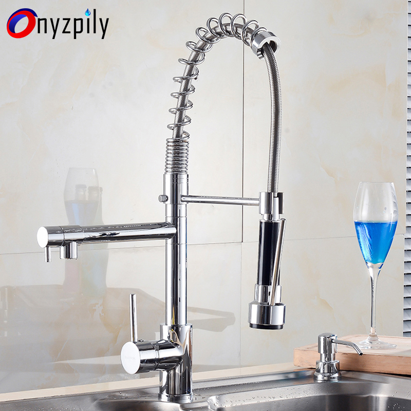 Kitchen Faucet Chrome Single Handle Single Hole Pull Out Swivel Two Spouts Hot and Cold Kitchen Mixer Taps Deck Mounted micoe pull style hot and cold water kitchen faucet mixer single handle single hole modern style chrome tap 360 swivel m hc103