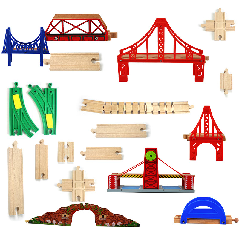 Christmas Gifts Wooden Train Track Railway Accessories Wood Track Bridge Red Rainbow Bridge For Rail Way Toys