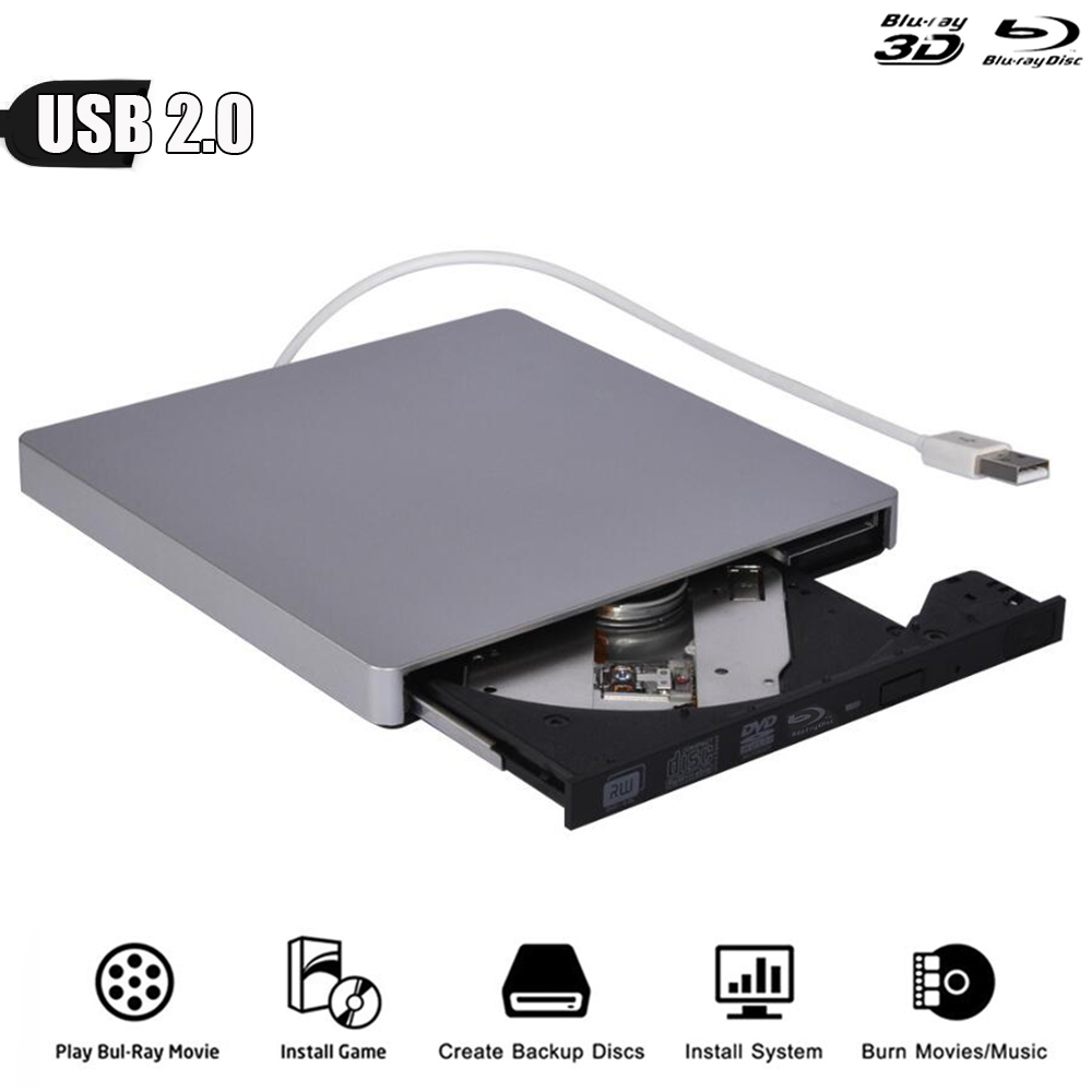 Bluray USB 2.0 External Optical Drive DVD Burner BD-ROM Blu-ray Player for WINDOWS XP/7/8/10 Mac Desktop Laptop PC