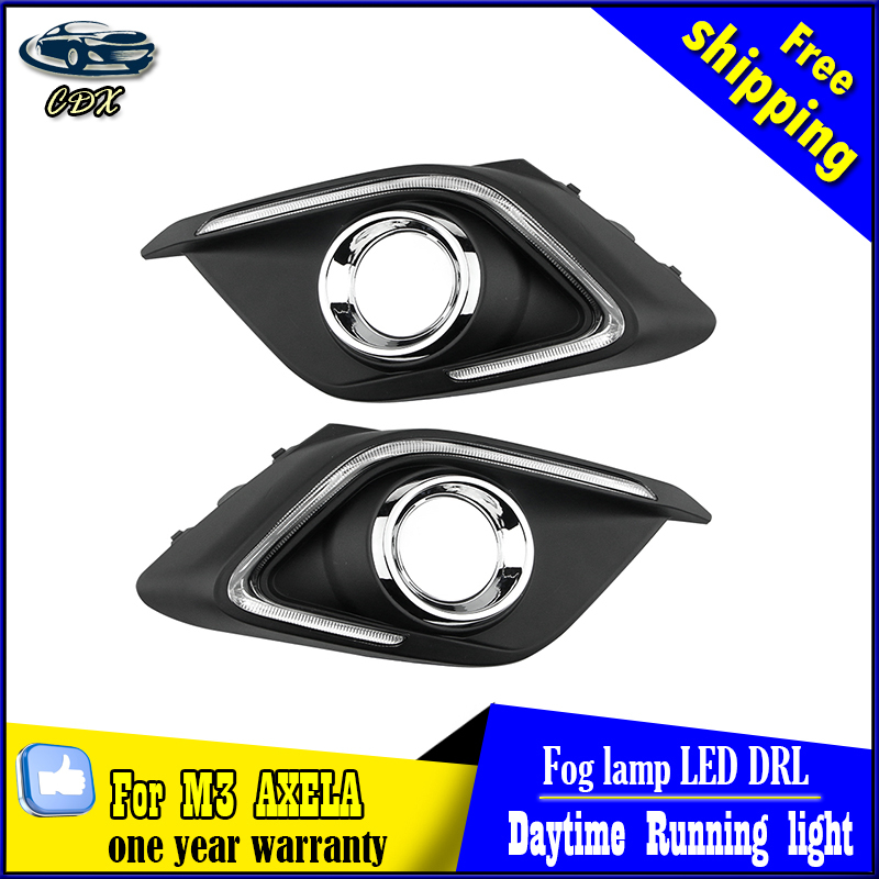 Turn Signal Light and Dimming style relay 12V LED car DRL daytime running lights with fog lamp hole for Mazda 3 axela 2014 2015