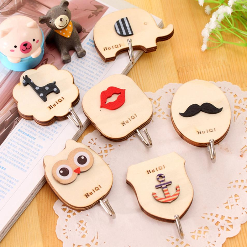 6pcs cartoon hook Figure Wall Door Home Strong Adhesive Hook Kitchen Sticky Holder Back Door Hook Kitchen Clothes Hanger 2018