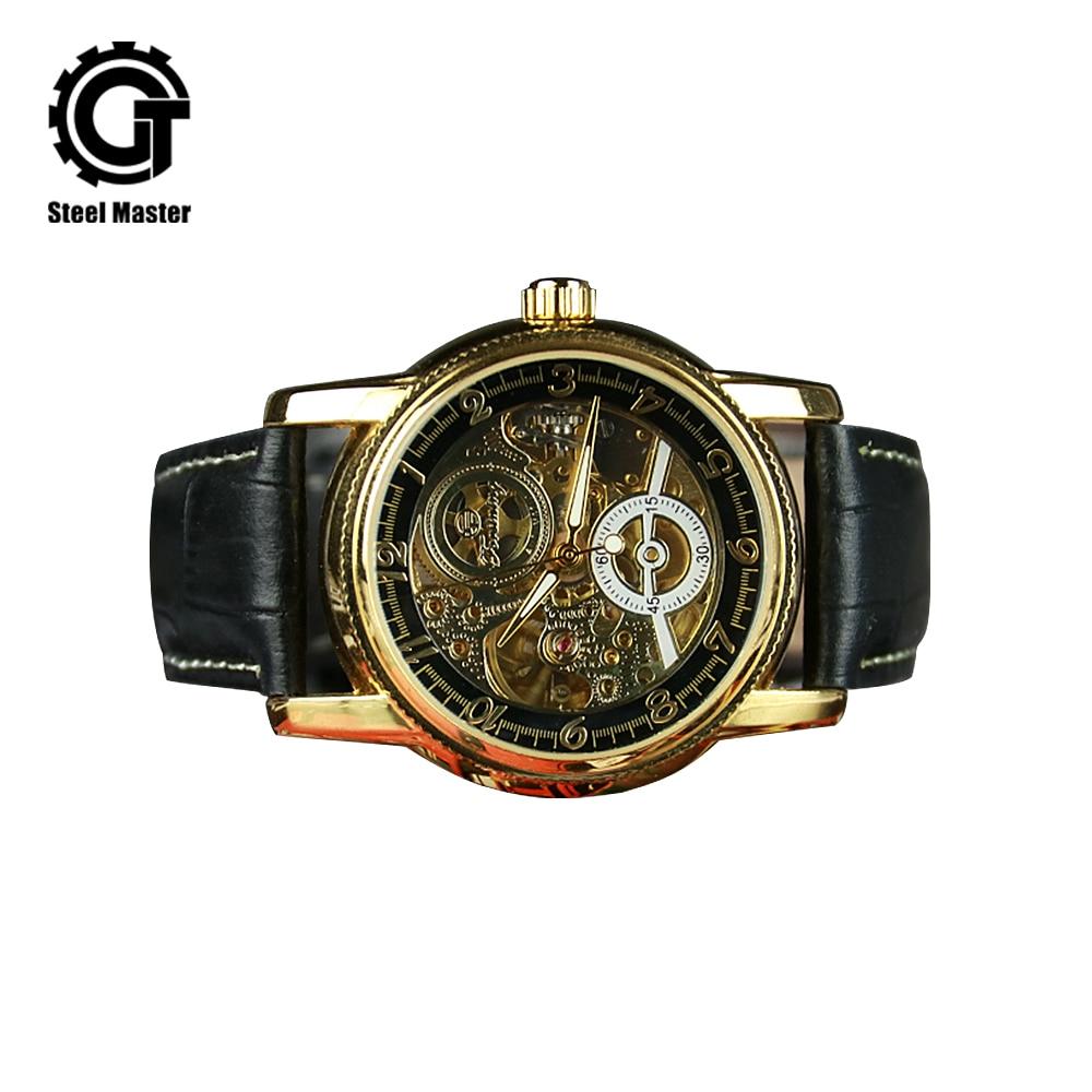 2018 New Punk Retro Men's Automatic Mechanical Watch Leather Belt Hollow Pattern Wrist Watch With Waterproof цена и фото