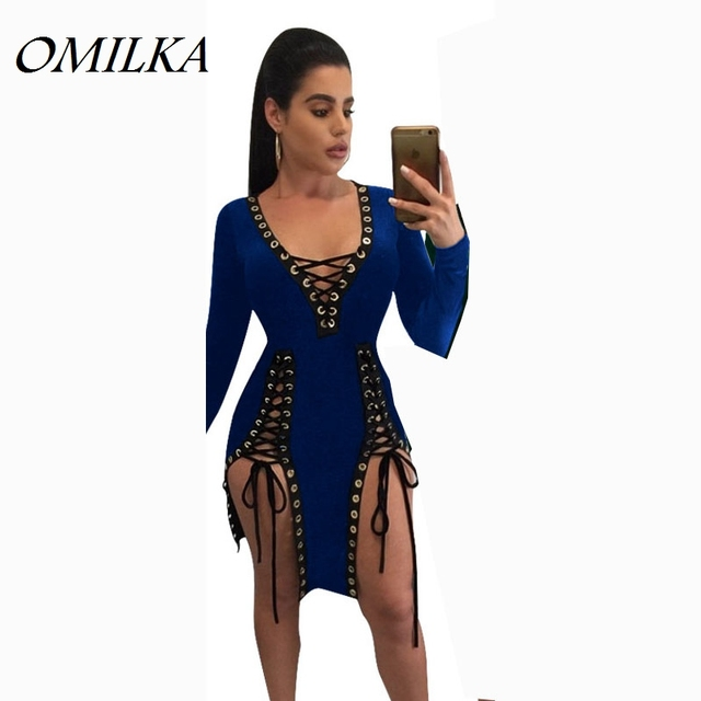 OMILKA Bandage Dress 2017 Women Long Sleeve Lace Up Bodycon Dress Sexy  Black Green Blue Wine Red V Neck Club Party Mini Dress 142a417aa
