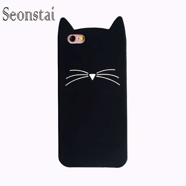 f21a3189ff3 Funda de silicona para iphone 6s 6 Funda de dibujos animados orejas de gato  negro barba