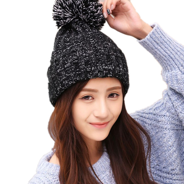 1863b51085b 2017 Fashion Women s Autumn Winter Knitted Ball Hats Skullies Beanies Girl  s  Casual Crochet Hat
