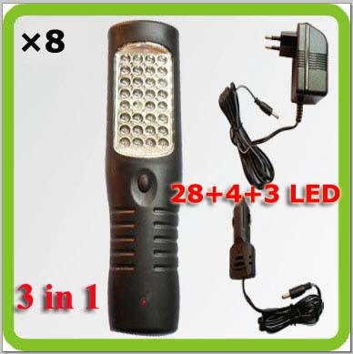 Wholesales DHL 3 in 1 multifunctional rechargeable led work lamp trabajo lampara for emergency garage camp