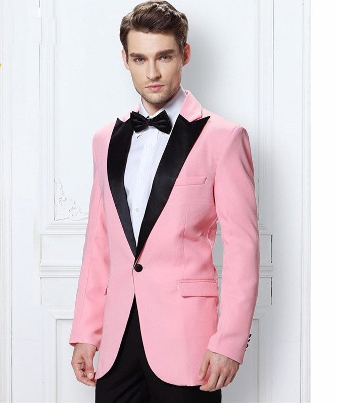 Pink Peak Lapel Men\'s Dinner Party Prom Suits Groom Tuxedos ...