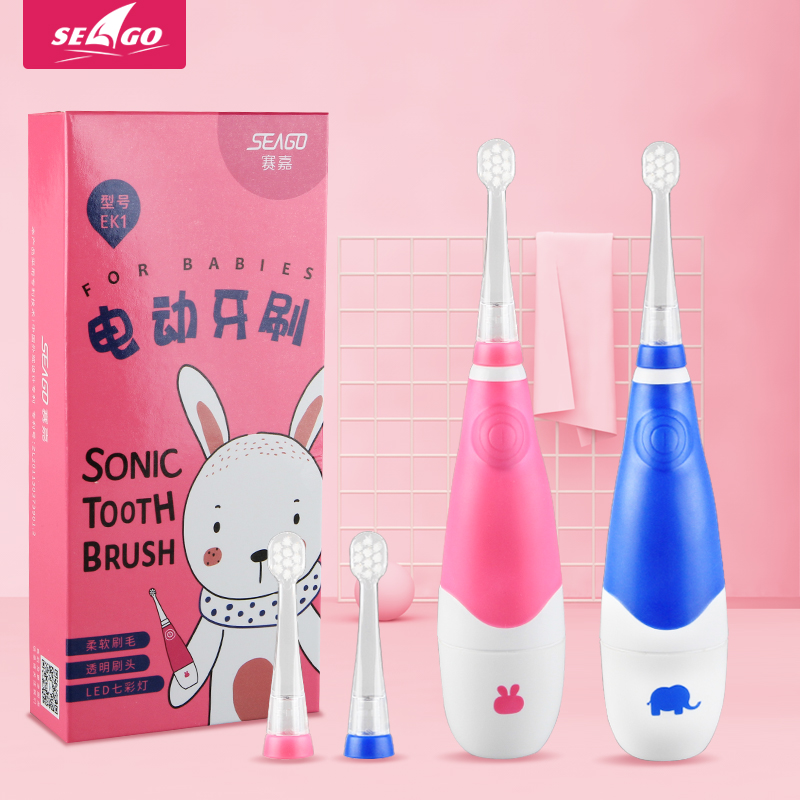 Electric Toothbrush Kids Battery Powered With Smart Timer Toddler Toothbrush Sonic Built In Colorful LED Light For Children 902