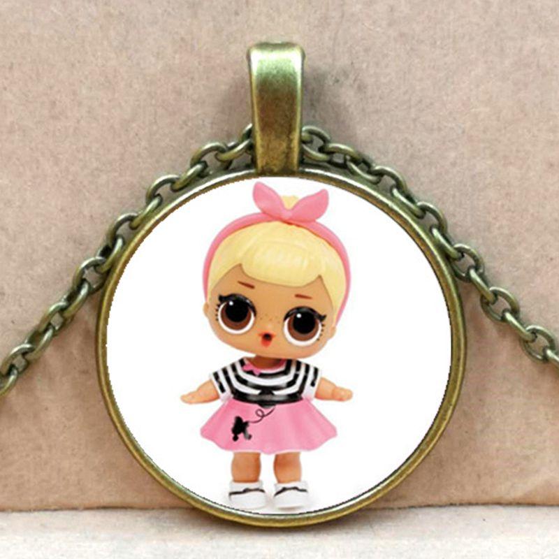 Мультяшное ожерелье с изображением куклы милое детское блестящее платье принцессы куклы стеклянные ожерелья аниме для детей подарок на день рождения - Окраска металла: bronze 5