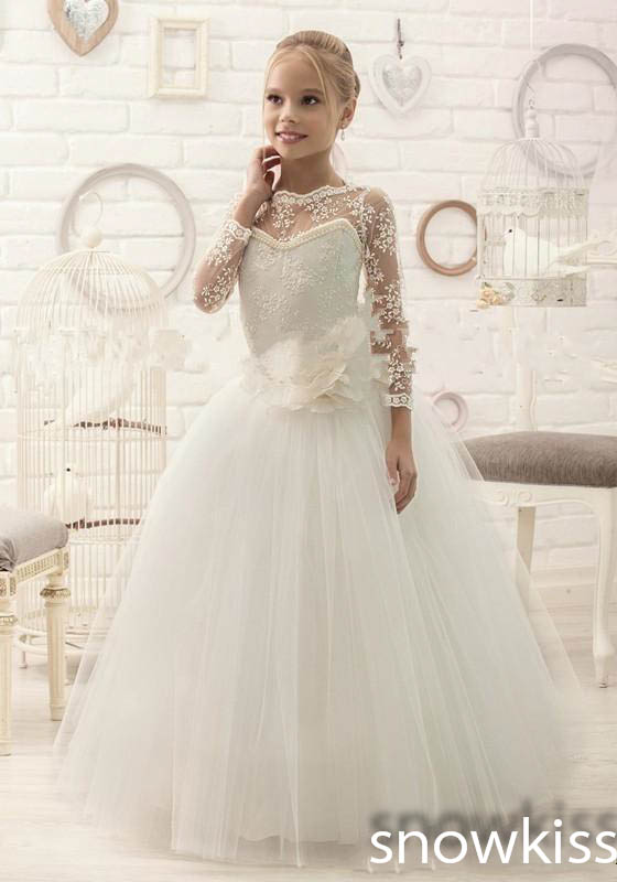 New coming beautiful white/ivory sheer lace long sleeves flower girl dresses elegant tulle communion formal occasion ball gownsNew coming beautiful white/ivory sheer lace long sleeves flower girl dresses elegant tulle communion formal occasion ball gowns
