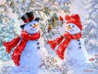 Diamond Embroidery Winter Scenery Snowman Painting Round Rhinestone DIY 5d Diamond Painting Cross Stitch Hobby Handmade