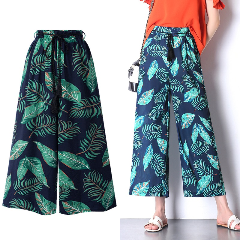 Summer Beach Floral   Pants   Women Wide Leg   Capri   Loose Trousers Women Summer Wide Womens Beach   Pants   6XL Plus Size Trousers Boho