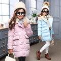 Crianças Casacos de Inverno Para As Meninas Casacos de Algodão Engrossar Quente Pele Inverno com capuz Parkas Longo Snowsuits 5 7 9 11 Anos Crianças Outerwear