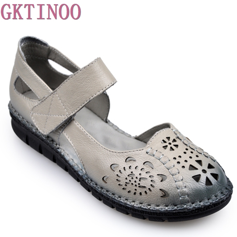 2017 Summer New Soft Bottom Flat Genuine Leather Women Shoes Personality Hollow Women Sandals Retro Handmade Sandals sapato xiuteng new summer thick high heels sandals genuine leather women shoes flower personality leisure women handmade sandals sapato