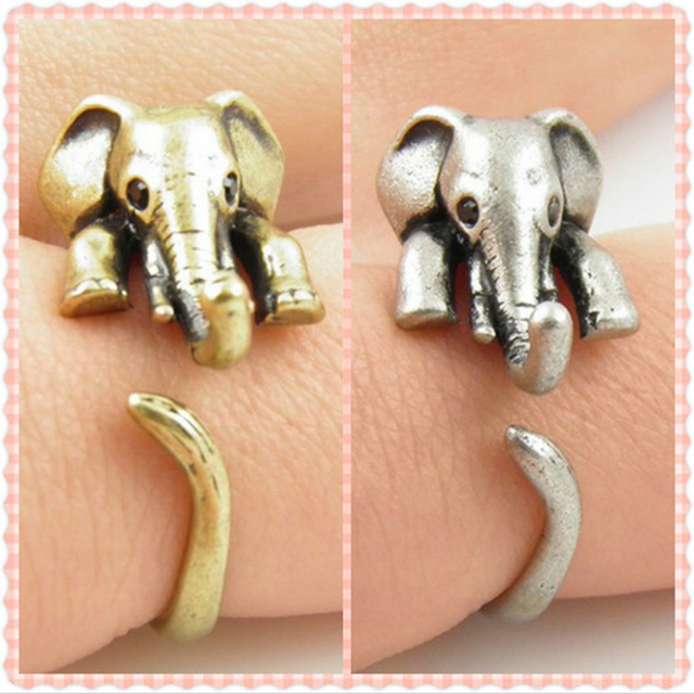 Vintage Elephant Adjustable Wrap Ring