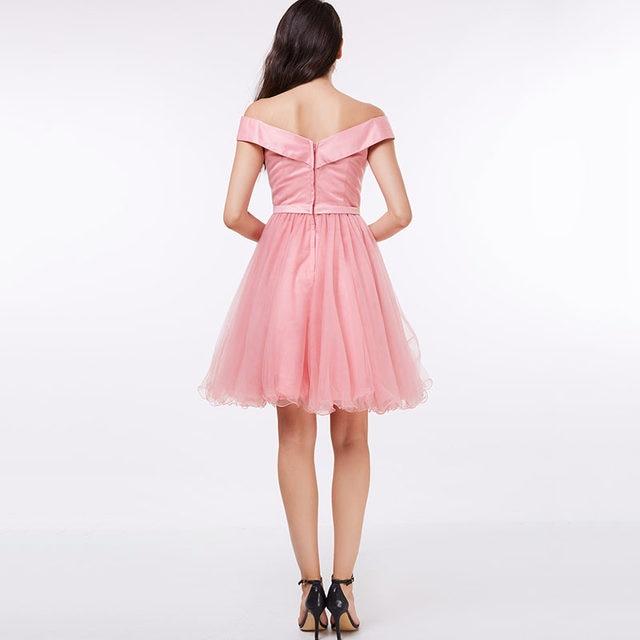 Tienda Online Tanpell fuera del hombro vestido de cóctel Rosa a-line ...