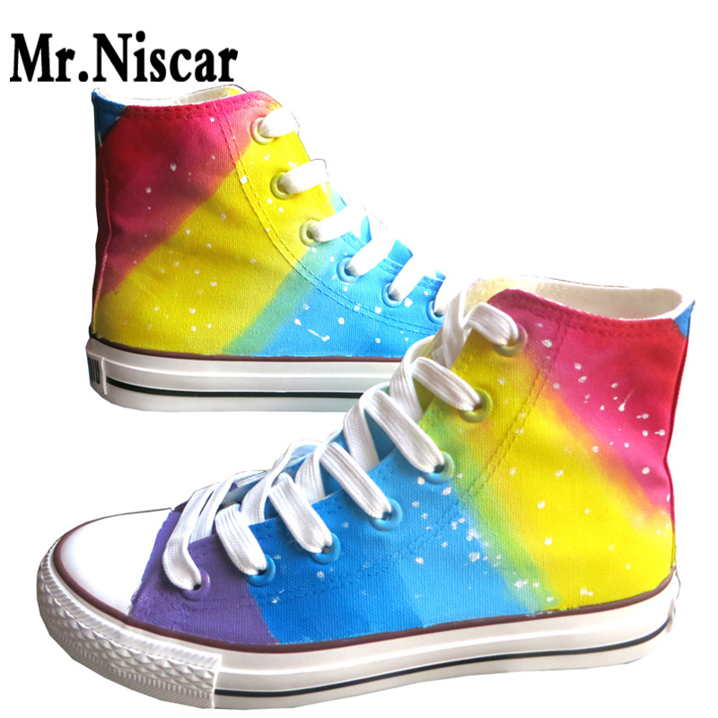 Rainbow Gradient Graffiti Hand Painted Shoes Women High Top Canvas Shoes Zapatillas Unisex Sneakers Breathable Shoes Woman e lov hand painted graffiti horoscope canvas shoes custom luminous graffiti gemini casual flat shoes women zapatillas mujer