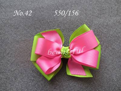 """50 BLESSING Happy Girl 4"""" Double Hair Bow Clip  New Ribbon Wholesale"""