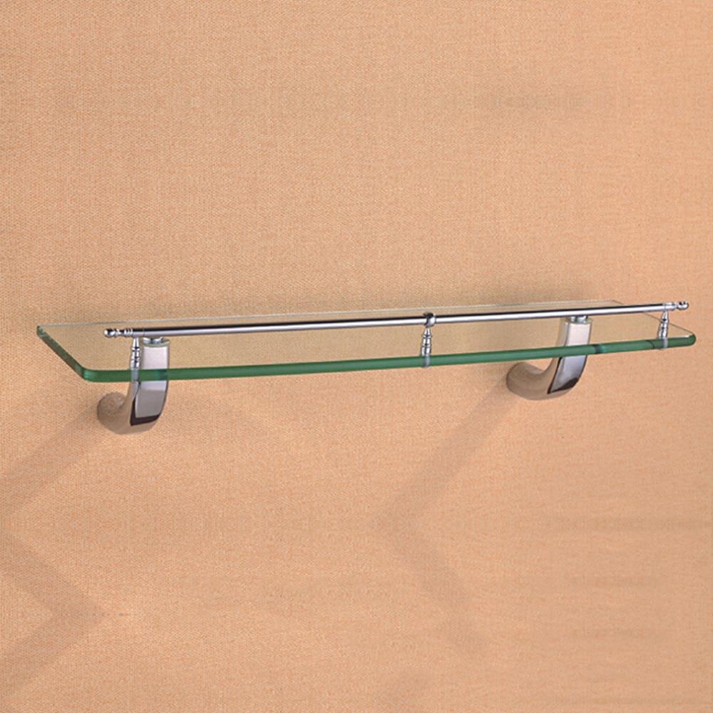 Corner Glass Shelf  Rectangle Wall Mounted Vintage Decorative Polish Chrome Glass Shelf with Brass Base for Bathroom,50cm/19.69