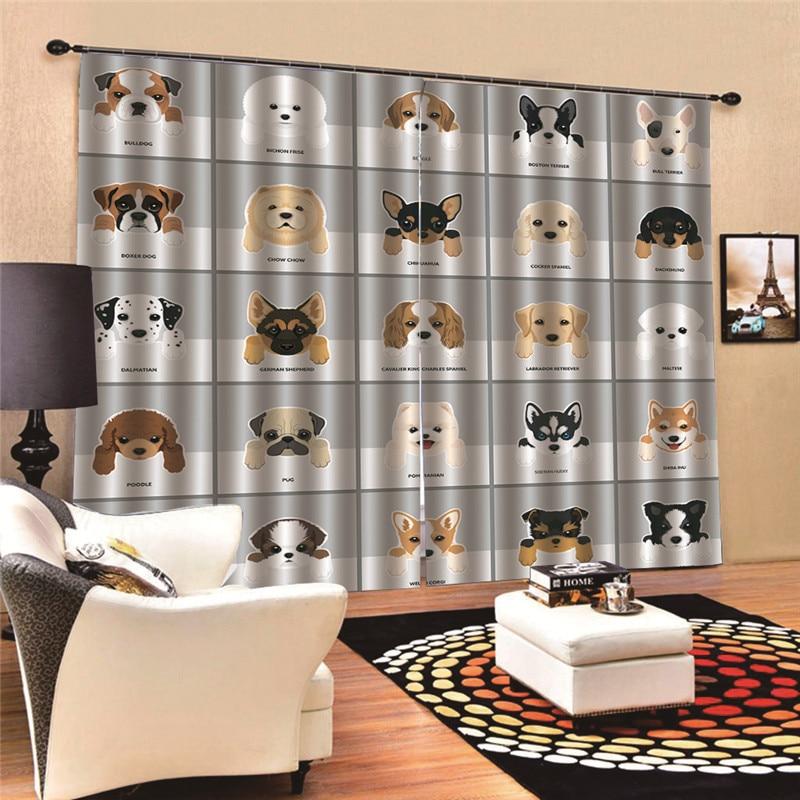 Dog Curtains Bath Sheer panel for living room balcony organza fabrics European style window 3D Digital Print MA27