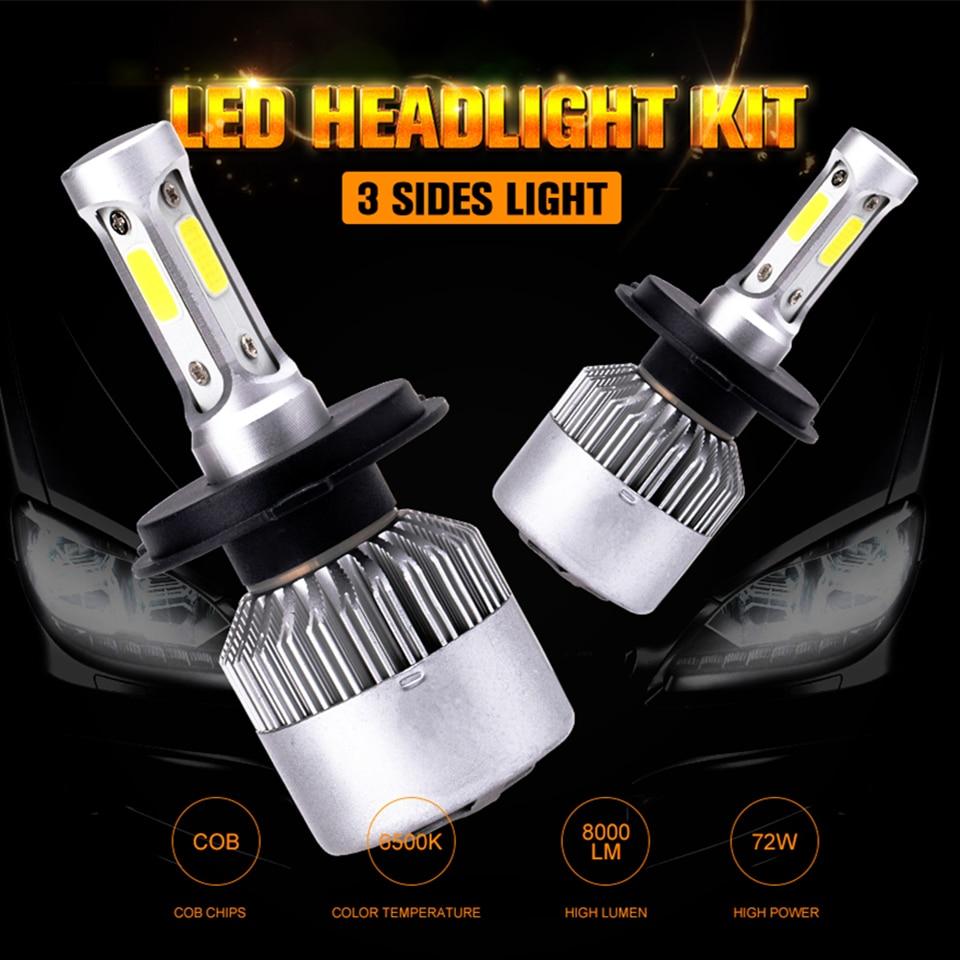Scheinwerfer Lampen 72 watt 8000LM H13 H11 H1 H3 H4 H7 led-lampe 880/881 9004HB1 9005HB3 9006HB4 9007HB5 9012 COB LED Scheinwerfer Lampen