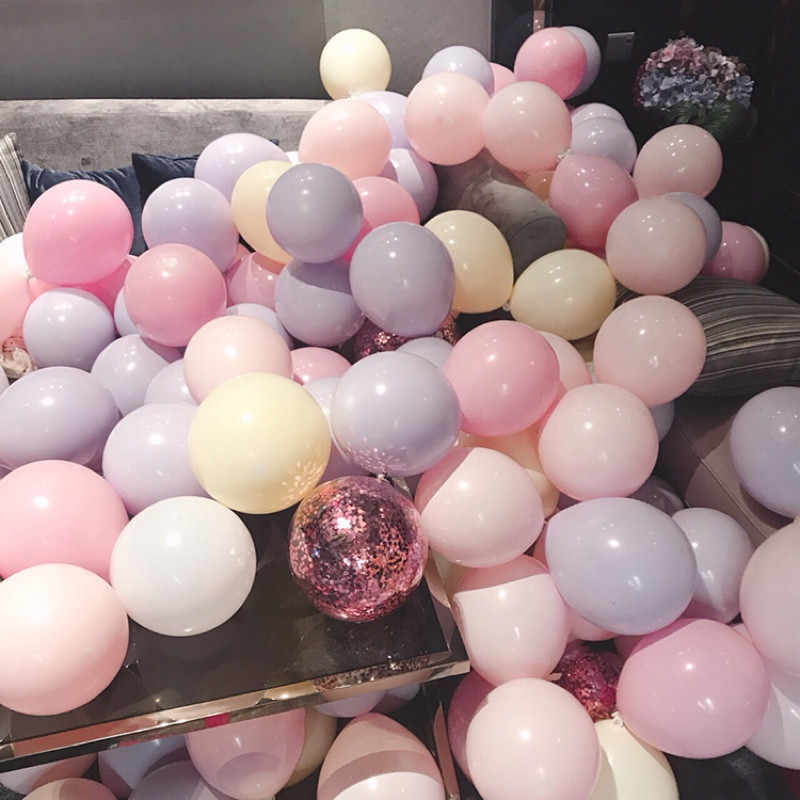 10pcs 12inch 2.2g Rose Gold Macaron Latex Balloons Air Balls Wedding Helium Balloons Happy Birthday Party Decoration Kids Baloon