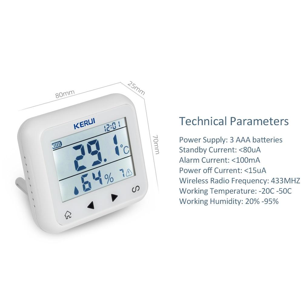 KERUI TD32 LED-skjerm Justerbar temperatur og fuktighet Alarmsensor - Sikkerhet og beskyttelse - Bilde 5