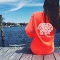 5 colores 2017 de primavera y verano precioso elefante marfil ella impresión t-shirt womens clothing tee bolsillo de manga larga mujer camisetas