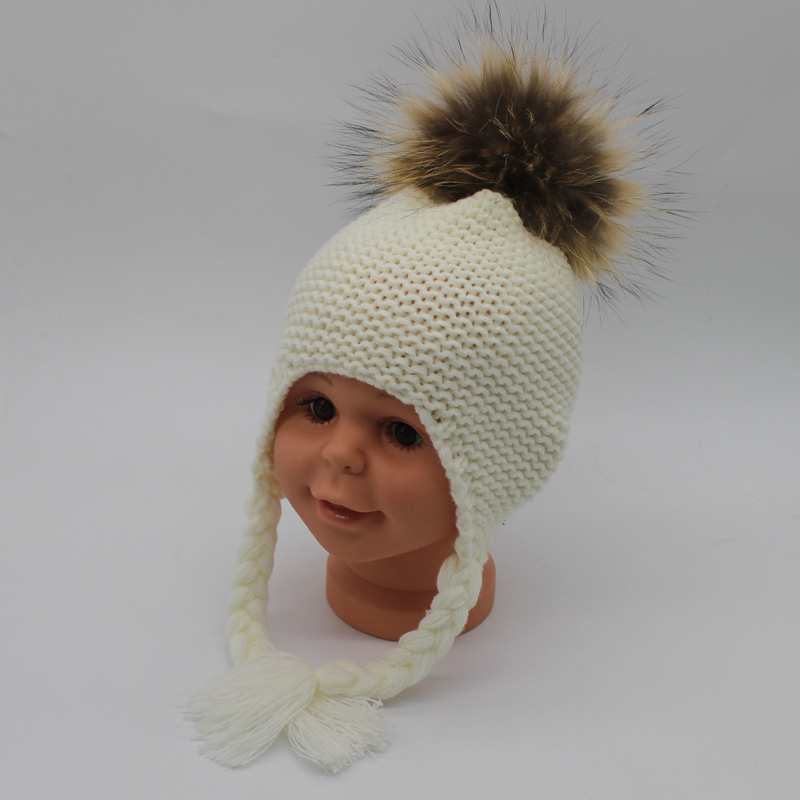 FURANDOWN 2018 Mode Winter Pompon Hoeden For Kids Meisjes Gebreide - Kledingaccessoires - Foto 4
