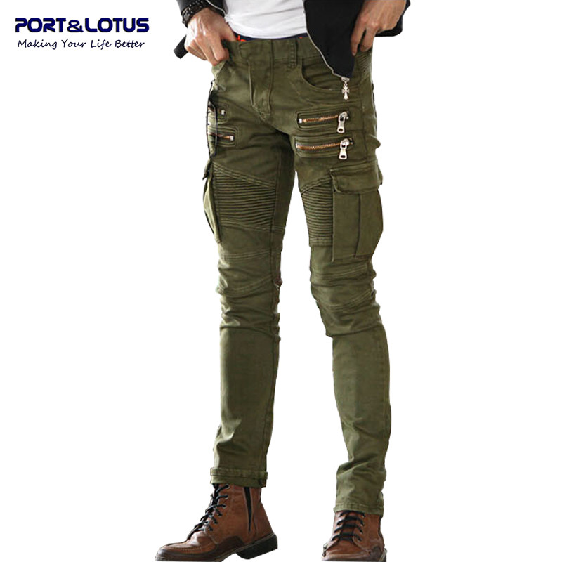 Port&Lotus Jeans Men Casual Fashion Men Jeans Solid Color Biker Jeans Army  Style Slim 004 Skinny Men Brand Clothing italian style fashion men jeans light blue color denim stripe ripped jeans men dsel brand street slim fit biker jeans trousers