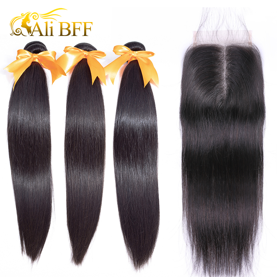 ALI BFF 100% Human Hair Bundles With Closure Brazilian Hair Weave Bundles Straight 3 Bundles With Lace Closure Remy