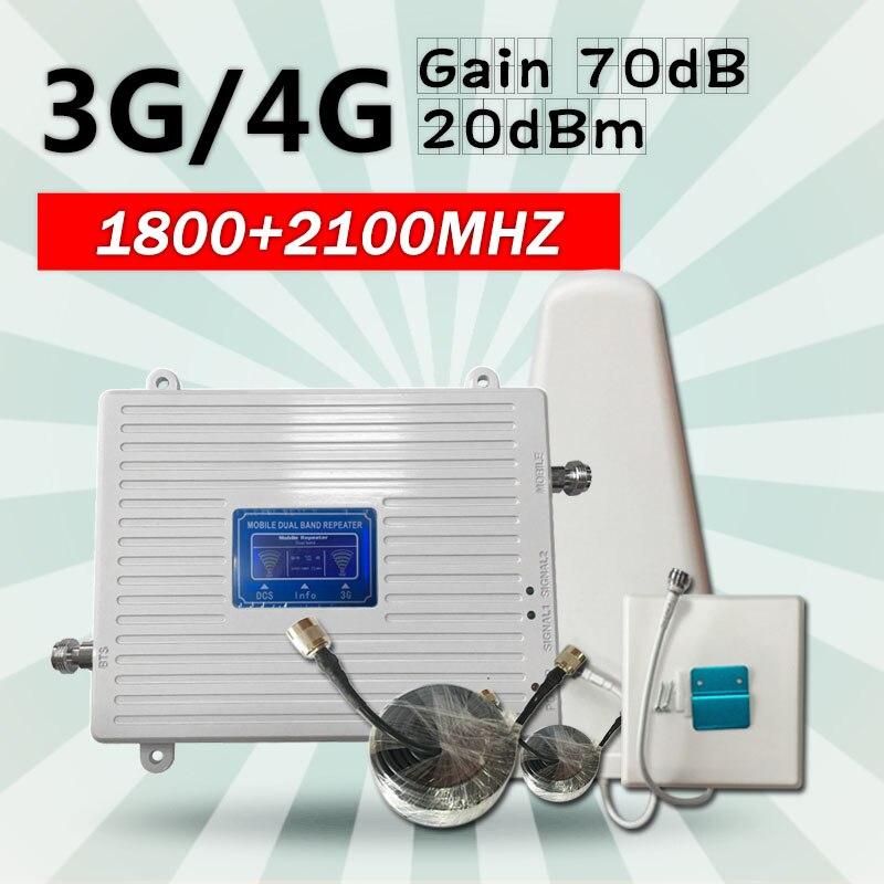 DCS 1800 UMTS WCDMA 2100 Dual Band Telefone Celular Repetidor de Sinal de Celular Amplificador de Sinal de Telefone Móvel Impulsionador para 2g 3g 4g