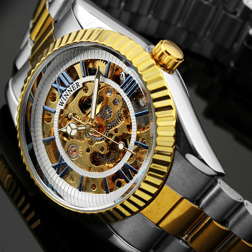 Stainless Steel Steampunk Clock Mens Automatic Mechanical Men Wrist Watch for 2015