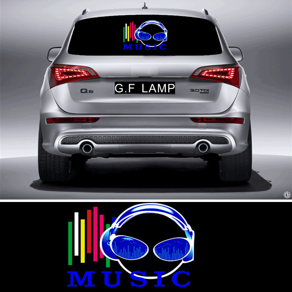 SOUND Activated AMERICAN FLAG CAR WINDOW STICKER SIGN WITH LED Light UP FLASHING