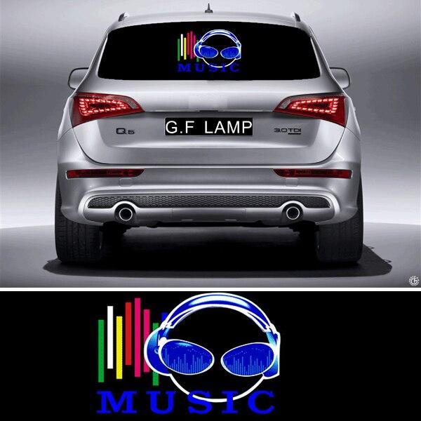 45cm*30cm Pretty Sound Rhythm Activated El Equalizer Car Music Sticker Glow Flash Panel Multi Designs LED Light earphone mic
