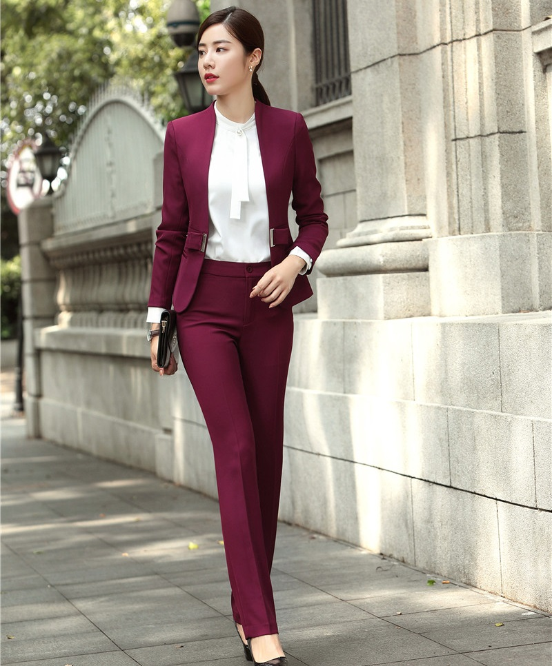 Fashion Wine Formal Uniforms Designs Professional Pantsuits With Jackets And Pants For Ladies Office Work Wear Blazers Sets 22