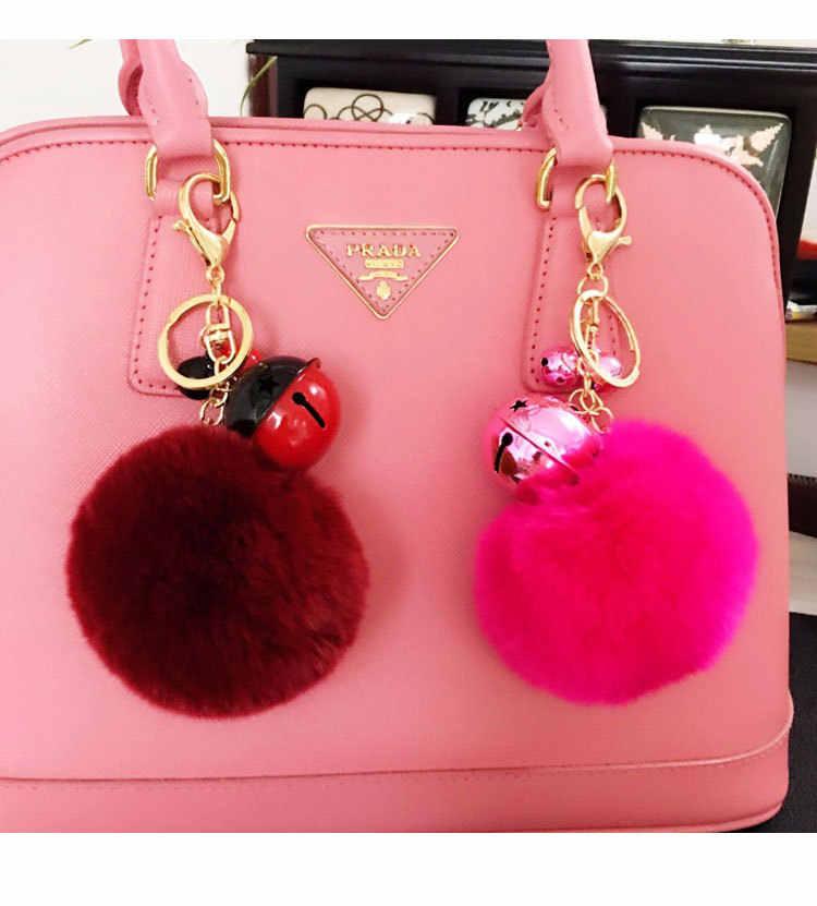 Nova Moda bolsas de Pele Pompom bola anel chave bonito enfeites de pelúcia chave do carro pingente cadeia K1507