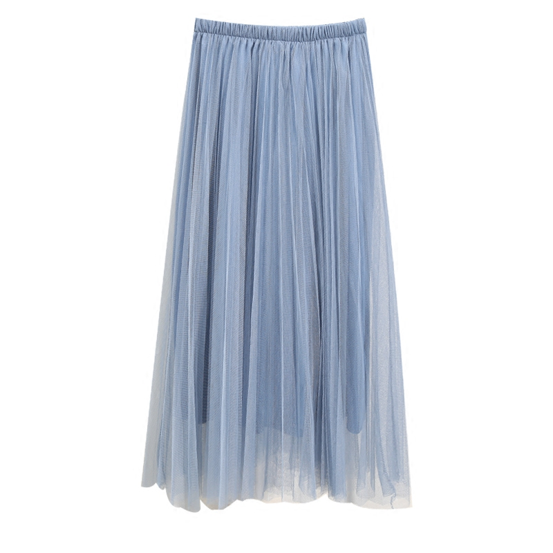 LE CELEBRE 1 layer Line+2 Layers Tulle Women Skirts Black White Amy Green Champagne Pleated Midi Skirt New Mid Calf Casual Skirt