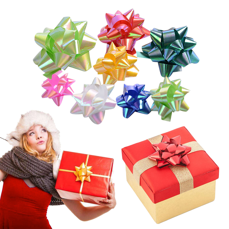 Behogar 86 Uds 2 tamaños autoadhesivos estrella de navidad regalo envoltura arcos artesanía suministros boda embalaje para regalo decoración colores al azar 1 unids/lote bolsa de fiesta congelada de la princesa Mochila de tela Elsa Frozen bolsa de escuela de viaje para niños bolsa de regalo con cordón de decoración