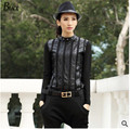 2015 Fashion Women's Black O-Neck Long Sleeve Pu Leather Elastic Material Slim Fit Top